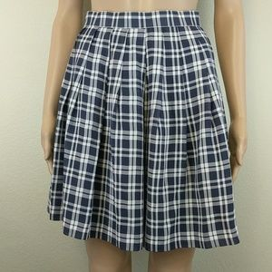 Navy blue plaid check pleated skirt 0